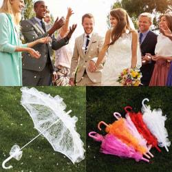 60 CM Kvinnor damer bomullsspets parasoll paraply brud bröllop P Black