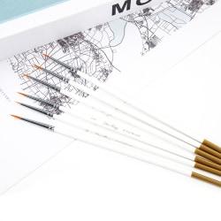 6st / set nylon hår rund pensel krok linje penna artist rita One Size