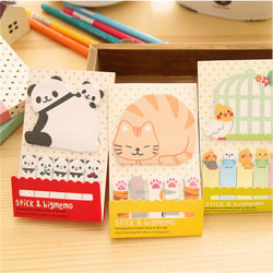 Animal Cat Panda Cute Kawaii Memo Sticky Notes Planner Stickers Yellow 10.5x5.5cm,cat