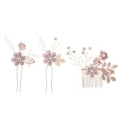 Skogblomma huvud blomma hårnål hår kam knut bröllop hår a 3(3pink)