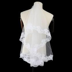 Kvinnor One Layer Lace Edge Wedding Slöja Bröllop & Evenemang Brud H White A:1.5M