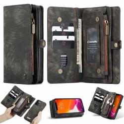 iPhone 12/12 Pro CaseMe Plånbok Magnet splittläder Svart Svart aska