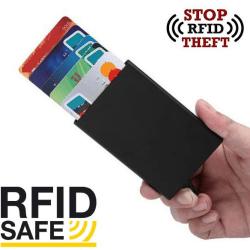 Plånböcker Korthållare med RFID Säker Skydd Aluminiumfacken Svart