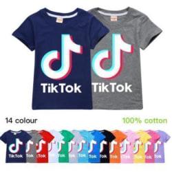 Tik-Tok tonåring fasion T- Shirt Kortärmad Mörkrosa 140