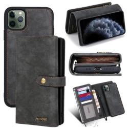 iPhone 11  Pro Max- Plånboksfodral / Magnet Skal 2 Färg Black Till iPhone 11 Pro Max Svart