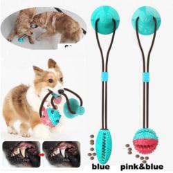 Multifunktionell hund katt säker elastisk rengöring tänder boll Pink and Blue Boll Model