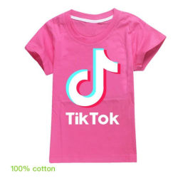 Tik Tok T- Shirt Kortärmad -Rosröd Storlek 140