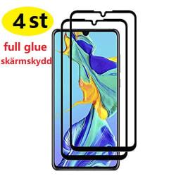 4 st full glue heltäckande skärmskydd för Huawei P30 pro Transparent