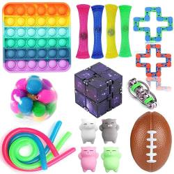 18-pack Fidget Toy Set Pop IT Sensorisk leksak för barn vuxna 18
