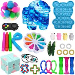 30-pack Fidget Toy Set Pop IT sensorisk leksak för barn vuxna