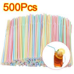 500-pack - flexibla sugrör - flerfärgad / vit 500pc