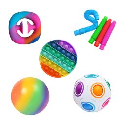 8 st Fidget Toys Pack Sensory Pop it Stress Ball 8pc