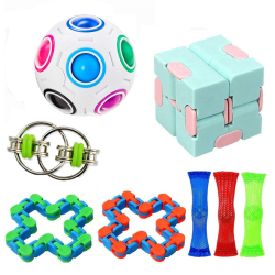 8 st Fidget Toys Pack Sensory Pop det Stress Ball, Party Gift 8pc