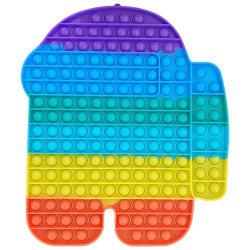Stor, Pop it Fidget sensorisk leksak, stressavlastningsleksak mångfärgad multicolor
