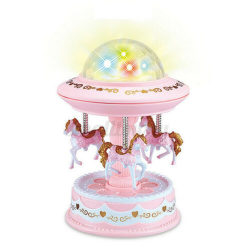 Karusell musikbox Merry-Go-Round LED-lampor pink