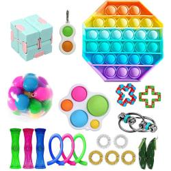 Fidget Toys Pack Sensory Pop it Stress Ball Party Gift multicolor 21