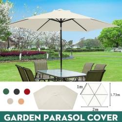 2m ersättningstyg Garden Parasol Canopy Sun Shade Cover off-white