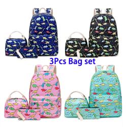 3st påsuppsättning (lunchpåse & ryggsäck & pennväska) pojkeflickryggsäck Blue