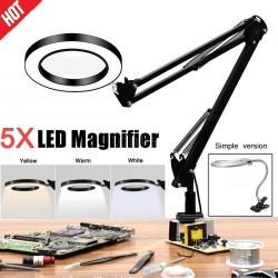 5X förstoringsglas Skrivbordslampa Förstoringsglas LED-ljusläslampa white Simple version