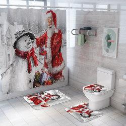 4st Jul Jultomten Duschdraperi Toalett Badrumsmattor