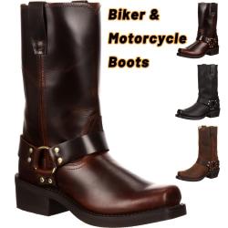 Plusstora cykel- och motorcykelstövlar Western Cowboy -stövlar winered 43
