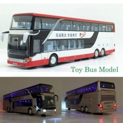 Alloy Pull Back Bus Model High Imitation Double Sightseeing Bus blue