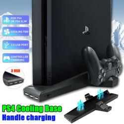 Kylfläkt Joystick för PS4 / PS4 Slim Games vertikalt stativ black