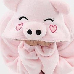 Fancy Cosplay Kostym Onesie Pyjamas Vuxen Nattkläder Pink Pig
