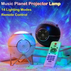 New Planet Projector Lamp Färgrik musikatmosfärlampa white
