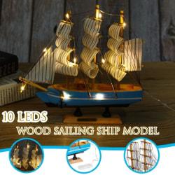 LED Craft Sailor Ship segelbåt Trä handgjord modell 21cm
