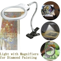 Justerbar stor lins LED-lampa Top Top Förstoringsspegel vit