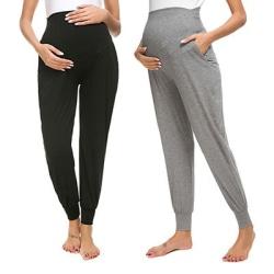 Moderskap Byxor Gravida Lösa Casual Byxor Graviditetsbyxor Black XL