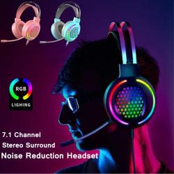 RGB 7.1-kanals brusreducerande headset USB-kabelansluten hörlurar Pink