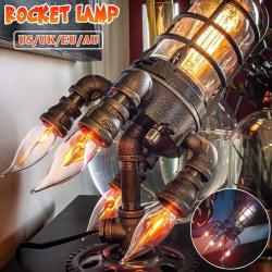 Rocket Lamp Steampunk Industrial Desk Night Lamp black