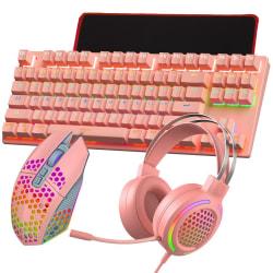 T500 Mekaniskt lysande tangentbord Mus Headset-högtalarset pink 4pcs/set