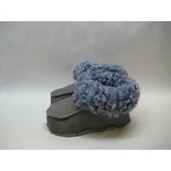 Fårskinnstofflor med lädersula grå  Barn 24-25