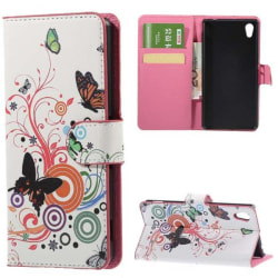Plånboksfodral Sony Xperia M4 Aqua - Vit med Fjärilar