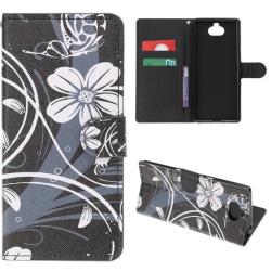 Plånboksfodral Sony Xperia 10 Plus - Svart med Blommor