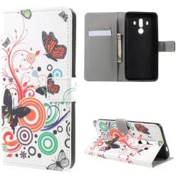 Plånboksfodral Huawei Mate 10 Pro - Vit med Fjärilar