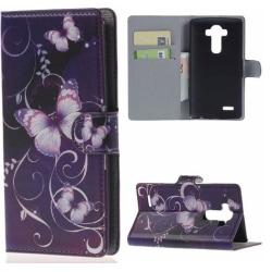 Plånboksfodral LG G4 – Lila med Fjärilar