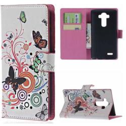 Plånboksfodral LG G4 - Vit med Fjärilar