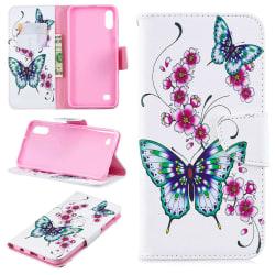 Plånboksfodral Samsung Galaxy A10 – Fjärilar och Blommor