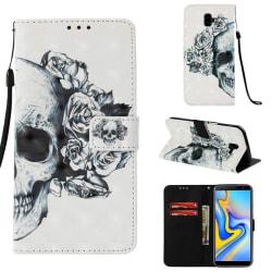 Plånboksfodral Samsung Galaxy J6 Plus – Döskalle / Rosor