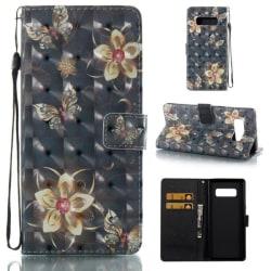 Plånboksfodral Samsung Galaxy Note 8 – Blommor i Guld