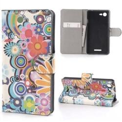 Plånboksfodral Sony Xperia E3 - Blommor & Cirklar