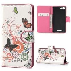 Plånboksfodral Sony Xperia E3 - Vit med Fjärilar & Blommor