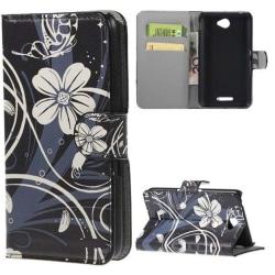 Plånboksfodral Sony Xperia E4 – Svart med Blommor