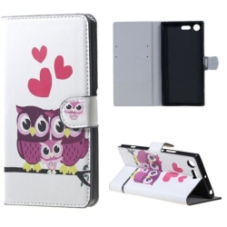 Plånboksfodral Sony Xperia XZ Premium – Ugglor & Hjärtan