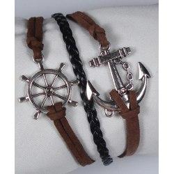 Symbol Skeppshjul Ankare Läder Mocka Armband