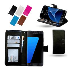 Läderfodral / Plånbok - Samsung Galaxy S7 Svart
